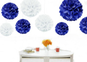 Kubert® Pom Poms - 12 pcs Tissue Paper Flowers,Royal Blue & White ,3 Sizes,Tissue Paper Pom Poms,Best Mother's Day decoration,Wedding Decor,Party Decor,Pom Pom Flowers,Tissue Paper Pink,Tissue Paper Flowers Kit,Pom Poms Craft,Wedding Pom Poms,Fo ..
