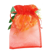 SumDirect 100Pcs 14cm x 19cm Sheer Drawstring Organza Jewellery Pouches Wedding Party Christmas Favour Gift Bags