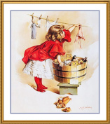 Young Girl Washing her Dolls Clothes by Maud Humphrey Bogart Counted Cross Stitch Chart