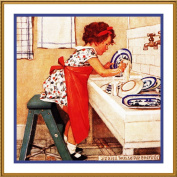 Little Miss Washing Dishes By Jessie Willcox Smith Counted Cross Stitch Chart