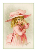 Young Girl in a Pink Hat Coat by Maud Humphrey Bogart Counted Cross Stitch Chart