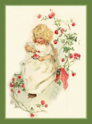 Young Girl in a Rose Garden by Maud Humphrey Bogart Counted Chart Stitch Chart