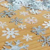 200 X Mixed Sparkly Fabric Christmas Snowflake Motifs Toppers Embellishments