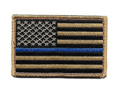 Desert/Coyote US Flag Thin Blue Line hook and loop Patch for Police and Law Enforcement