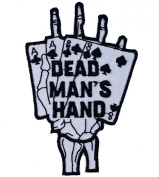 Dead Man's Hand Aces & Eights Skeleton Hand Iron on Embroidered Patch D46