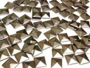 100 Metal 7mm Gunmetal HOT FIX Pyramid Studs Stick on Embellishments, Punk, Goth, DIY Fashion