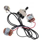 Kmise MI0321 Guitar Wiring Harness Prewired Two Pickup 500K Pots 3-Way Toggle Switch Chrome