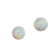14k Yellow Gold Created Opal Fiery White Round Stud Earrings
