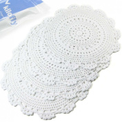 kilofly Handmade Crochet Round Cotton Lace Table Placemats Doilies Value Pack [Set of 4], Medallion, 34cm x 33cm , White