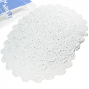 kilofly Handmade Crochet Round Cotton Lace Table Placemats Doilies Value Pack [Set of 4], Medallion, 43cm x 42cm , White