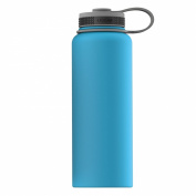 Asobu, The Mighty Flask, Wide Mouth Water Bottle, Stainless Steel, 1180ml, Blue