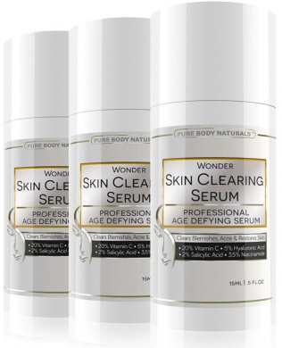Vitamin C Serum 20% with Retinol 2.5%, Salicylic Acid 2%, Hyaluronic Acid, Niacinamide - Best Natural Anti Ageing AND Skin Clearing Serum for Face, Acne, Blemishes & Wrinkles - 19 Wonder Products In 1! For Men and Women of All Skin Types - Also Reduces ..