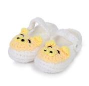 FuzzyGreen®Cute Pig Baby Newborn Infant Girl Boy Hand Knitting Crochet Pre Walker Toddler Buckle Shoes Socks Booties(White)+Gift