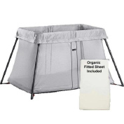 BABYBJORN Travel Crib Light Silver and Fitted Sheet Bundle Pack, Silver