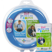 Blue Potette Plus Port-a-potty Training Potty Travel Toilet Seat - 2 in 1 Bundle with Potette Plus Liners - 30 Liners