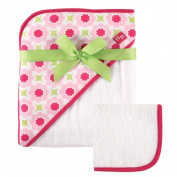 Hudson Baby Print Woven Hooded Towel and Washcloth, Girl, Seahorse Flower Print