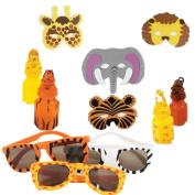 Safari Animal Party Favour Pack Including Bubbles, Sunglasses, and Masks for 12 Guests