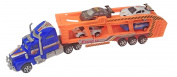 Friction Power Sport Express Semi Truck Car Carrier W/4 Race Cars for Kids