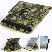 Mecasy_iPad Mini 1 Mini 2 Mini 3 360 Degree Rotating Swirl Rotating Camouflage Military Army Leather Case Smart Stand Cover Green USA Seller