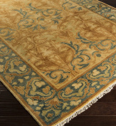 Surya HIL9019-23 Hand Knotted Casual Accent Rug, 0.6m by 0.9m, Moss/Rust/Olive/Gold