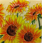 Continental Art Centre SD-004 10cm by 10cm Four Sunflowers Ceramic Art Tile