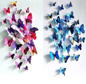 OPCC 3D Butterfly 12PCS for Blue and 12 PCS For Purple Stickers Making Stickers Wall Stickers Crafts Butterflies 1PCS Opcc Sticky Notes