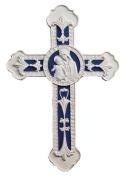 Della Robbia Madonna and Child White Blue 23cm Decorative Wall Cross