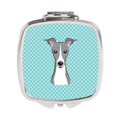 Checkerboard Blue Italian Greyhound Compact Mirror BB1174SCM
