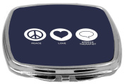 Rikki Knight Peace Love Speech Therapist Design Compact Mirror, Blue, 60ml