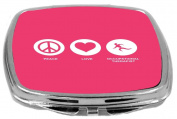 Rikki Knight Peace Love Occupational Therapist Design Compact Mirror, Tropical Pink, 60ml