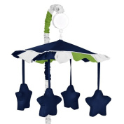Navy Blue and Lime Green Stripe Musical Baby Crib Mobile for Stripe Collection