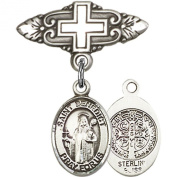 Sterling Silver Baby Badge with St. Benedict Charm and Badge Pin with Cross 2.5cm X 1.9cm