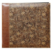 Pioneer 30cm by 30cm Postbound Embossed Sewn Leatherette Cover Memory Book, Brown