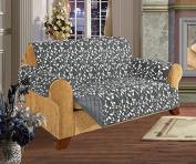 Quilted Pet Dog Children Kids - FURNITURE PROTECTOR- Microfiber Slip Cover Grey Sofa Leaf Design