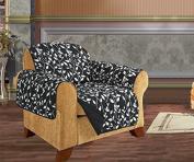 Quilted Pet Dog Children Kids - FURNITURE PROTECTOR- Microfiber Slip Cover Black Chair Leaf Design