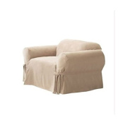 Green Living Group Chezmoi Collection Soft Micro Suede Armchair/Arm-Chair Cover Slipcover with Elastic Band Under Seat Cushion, Sand, Beige