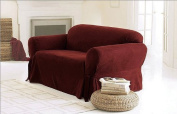 Green Living Group Chezmoi Collection Soft Micro Suede Solid Red Couch/Sofa Cover Slipcover with Elastic Band Under Seat Cushion, Burgundy
