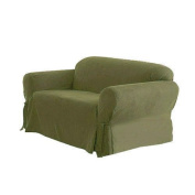 Green Living Group Chezmoi Collection Soft Micro Suede Light Moss Couch/Sofa Cover Slipcover with Elastic Band Under Seat Cushion, Green