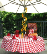 Polyester Gingham Umbrella Table Cloth, 130cm x 200cm Rectangle