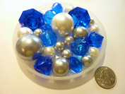 80 Unique Jumbo & Assorted Sizes Royal Blue Diamonds & Gems, White & Silver Pearls Value Pack Vase Fillers - NOT INCLUDING the Transparent Water Gels (Sold Separately) that Float the Pearls and Gems..