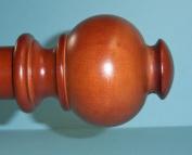 Wood Button Ball Finials for 3.5cm Diameter Pole-1 Pair Walnut