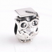 Everbling Wisdom Owl with Graduation Cap 925 Sterling Silver Bead Fits Pandora European Charm Bracelets