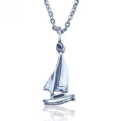 Sterling Silver Catamaran Sailboat Necklace on 46cm Stainless Steel Link Chain