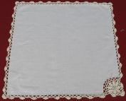 Crochet Lace Napkin Set BEIGE 100% Cotton, 12 Pieces