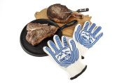 .  Barbecue Gloves with Fingers for Heat Resistance to 662°F - Bonus Gift Digital Thermometer - Double Glove Set - Best Flexibility Over Oven Mitts - Silicone Grip Ribs - Best for Extreme High Heat - BBQ Grilling - Fireplace - Camping