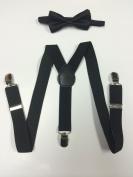 Toddler Baby Boys Girls Child Black Bow Tie Vintage Black Suspender Y Clips