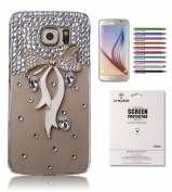 Galaxy S6 Rhinestone Case, Mini-Factory(TM) Luxury 3D Bling Crystal Gold Slim White Diamond Bow Design Hard Clear Cover Case for Samsung Galaxy S6 G9200 (Package Include