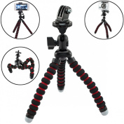 AVAWO Universal Flexible Tripod for GoPro HERO4 HERO3+ GoPro HERO3 GoPro HERO2 and iPhone 6 Plus iPhone 6 5C 5S for Samsung Galaxy Note 4 3 S6 S5 S4 Smartphone