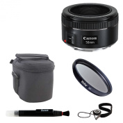 Canon EF 50mm f/1.8 STM Lens Bundle with Lens Pouch + 49mm UV Filter + Lens Cleaning Pen and Lens Cap Keeper