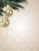 Ornaments & Pine Gold Foil Christmas Letterhead, 22cm x 28cm , 40/PK